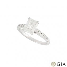 18k White Gold Emerald Cut Diamond Ring 1.34ct G/VS2